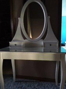 White Vanity with glass top and matching stool