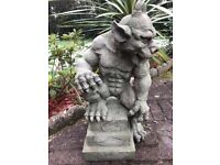 1 Gothic Style Stone Guardian Muscle Gargoyle On Step Plinth Called Charles