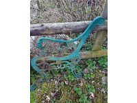 2 ORNATE CAST IRON BENCH ENDS