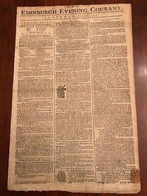 1776 Revolutionary War Edinburgh Newspaper G. WASHINGTON Boston Battle Accounts