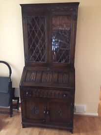 Price Reduced: Attractive Carved Oak Bureau with cupboard, drawer and Leaded Bookcase Display