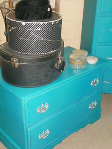 antique dresser, nightstands, stools, etc. painted,  teal London Ontario image 4