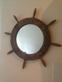 Wooden Ship's Wheel Mirror