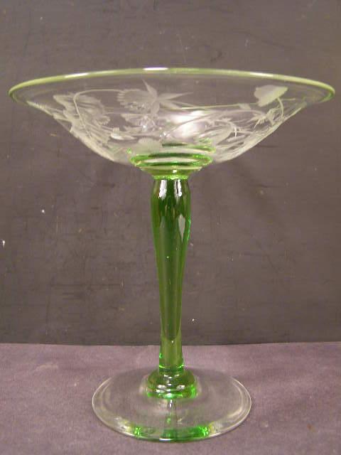 1910 Antique Bohemian Moser Oak Acorn Flower Engraved Intaglio Cut Glass Compote
