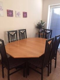Extending dining table with 6 chairs & corner unit ***PRICE DROPPED***