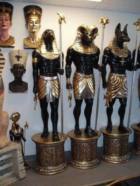 Egyptian Pharaoh God Anubis Khnum Grand Ruler Statue Sculpture Resin Life Size
