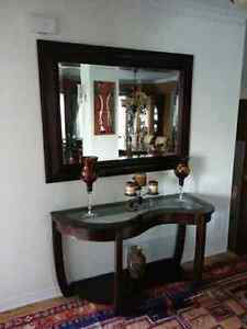 """En tract table and beveled mirror 52""""×40"""" (mirror)"""