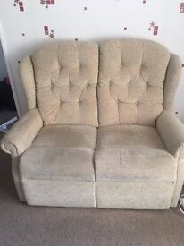 2 seater sofa and 2 arm chairs, compact suite good condition