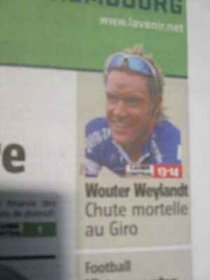 VELO : JOURNAL DU DECES DE : WOUTER WEYLANDT 10/05/2011 AU GIRO