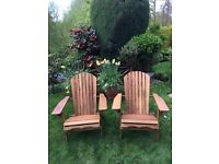 TWO Futon Company solid wood folding Adirondack chairs, new and barely used