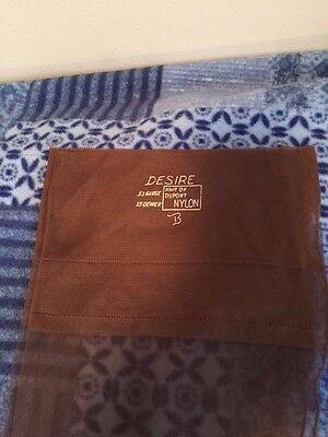 One pair vintage flat knit Seamed Desire garter stockings Size 10 Brown