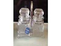 Vintage UNUSED With Tags *CELTIC CONDIMENT JARS* Silver Plated Stand with Fork Cut Glass