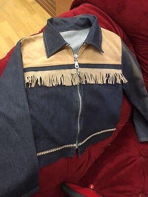 Vintage Kids 70er Jahre Jeans Anzug Karneval? Cowboy Stretch 4-5 Jahre - Kid Cowboy Kostüm