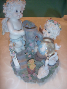 Musical  Twin Cherub Sculpture with Water Globe