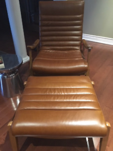 Beautiful caramel colour leather chair and ottoman