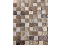 CLEARANCE Mosaic mixed cream stone and glass tiles