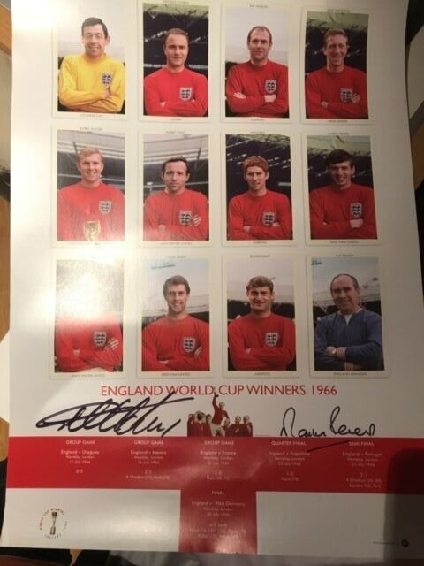 1966 World Cup poster  - signed by Geoff Hurst and Martin Peters