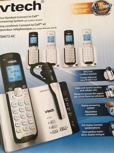 Cinq combinés telephonique