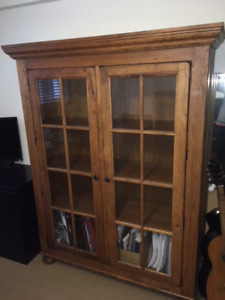 Gorgeous solid wood bookcase with glass doors