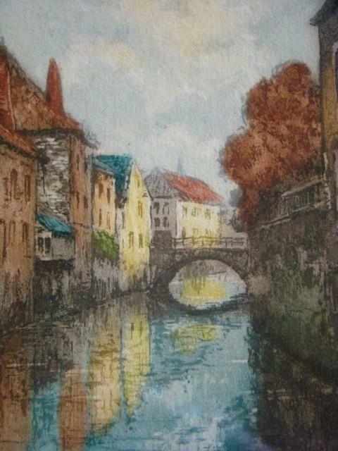 Lovely Vintage Framed Signed Color Etching CANAL By Van Doorn, Dutch Artist