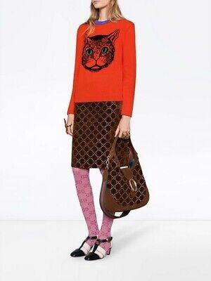Designer Look GG Mystic Cat Face Sweater Round Neck Pullover in Orange (Round Faced Cats)