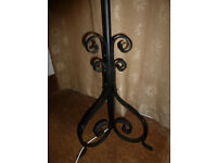 Antique Vintage Black HEAVY WROUGHT IRON Metal Standard Floor Lamp Original Fittings Re-wired