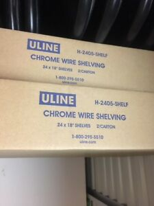 ULINE chrome wire shelves 24in x 18in (4 shelves total) $50