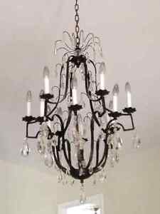 Large iron and crystal vintage chandelier!