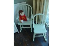 2 x Shabby Chic Childrens Wooden Rocking Chairs up-cycled in Pale Green chalk paint -will split