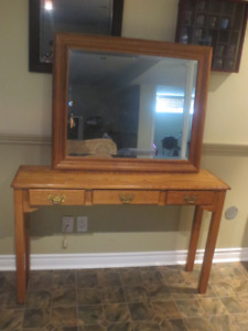 Solid oak hall table and matching mirror