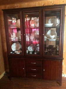 Hardwood,,dining room table and hutch