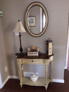 Hall stand and matching wood mirror - Painted finish