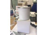 White metal camping mugs