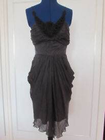 LIPSY BLACK SILK STRAPPY FULLY LINED DRESS SIZE 8/10 BRAND NEW