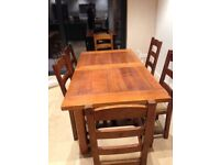 John Lewis solid dark oak extendable dining room table and chairs