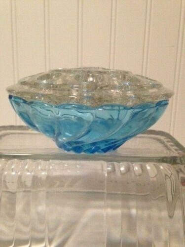 Hazel Atlas Capri Seashell Swirl Aqua Glass Flower Bowl & 16 hole frog