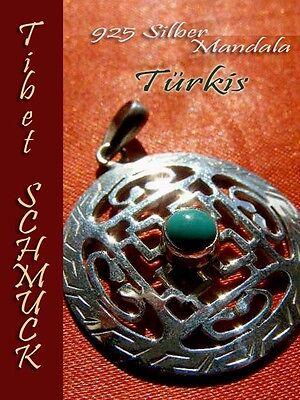 Silbeschmuck 925-SILBER Mandala ANHÄNGER TÜRKIS Amethyst Koralle Schutz Amulett