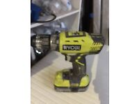 RYOBI CORDLESS 18V DRILL DRIVER WITH BATTERIES AND CHARGER