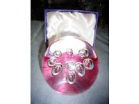 GLASS Ball with pink colour in the bace WITH THE BOX. UNUSED NEW.