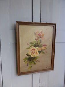 Antique framed still life flowers roses oil painting dated 1918