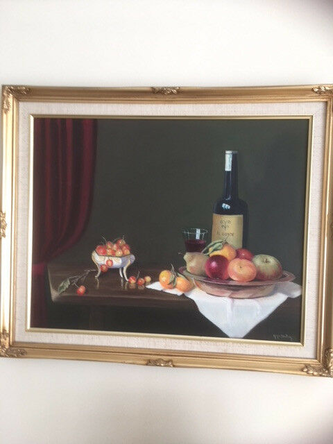 still life oil painting of wine and fruit
