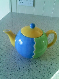 Rayware Teapot - used. Very colourful--blue,yellow and green,
