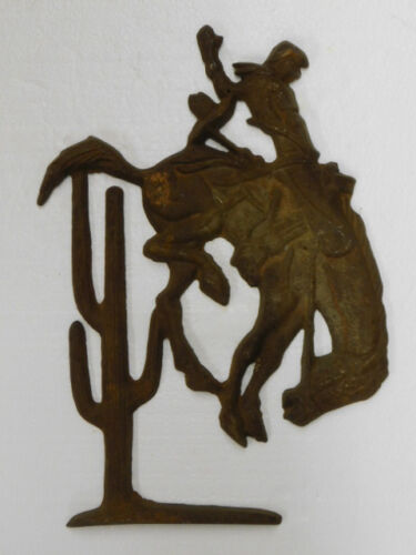"large Cast Iron -- BRONCO RIDER -- Plaque 16""x11""  Western Cowboy Rodeo Theme"