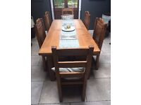 French Oak Dining Table and Chairs