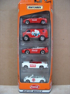 MATCHBOX  COCA COLA 5 GIFT PACK-MUSTANG,CHEVY VAN,55 CHEVY, VW