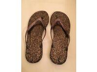 Bronze metallic & Silver metallic flip flops