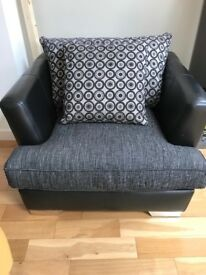 DFS ARMCHAIR FOR SALE, BLACK LEATHER WITH 2 CUSHIONS
