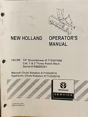 New Holland 74csr Snowblower 715347006 1 2 - 3 Point Hitch Operators Manual