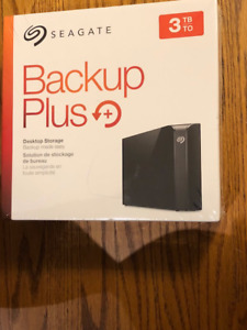 NEW 3 TB Seagate Backup Plus Desktop Ext Hard Drive USB 3.0-NEW!