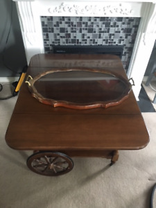 Antique Tea Trolley Cart with Glass Serving Tray